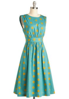 I really love this one. Too Much Fun Dress in Gold Dots - Long, #ModCloth