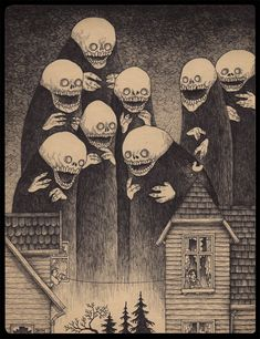 Edward Gorey is one of my favorite artists. What if he had illustrated Lovecraft's stories or created artwork with Lovecraftian themes? The art of John Kenn Mortensen might be the result. Monster Art, Monster Drawing, Arte Horror, Horror Art, Illustrations, Illustration Art, Don Kenn, Image Triste, Edward Gorey