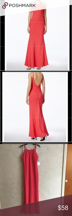 """NWT Calvin Klein Open Back Halter Gown NWT Calvin Klein Open Back Halter Gown. This dress is brand new and has never been worn. All tags are attached and it is in perfect condition. This Calvin Klein dress is stunning and is excellent for any occasion. It features a gorgeous Halter neckline and a beautiful Open Back for a striking look. Model is 5'8"""". Bust: 31.5"""" Waist: 24"""" Hips: 35"""" This dress fits true to size. You'd love it. ➡️Make an offer if you're interested⬅️ Calvin Klein Dresses…"""