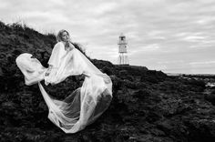 Long lost love by the lighthouse... Creative shoot on the coast in Portishead. Ben Edwards photography, Stephy H modelling. Beach. Rocks. Black and white
