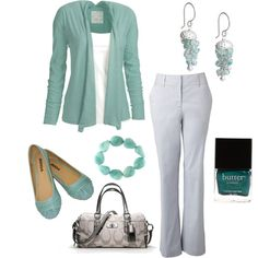 Casual work wear. Turquoise or teal are amazing statement colors against grey.