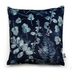 Forest Textures Cushion - Blue and White Botanical Print-Making Velvet Home Accessory from Terrariumdesigns.co.uk