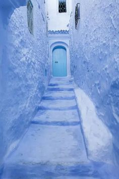 A1 Poster. Street in medina of blue town Chefchaouen, Morocco