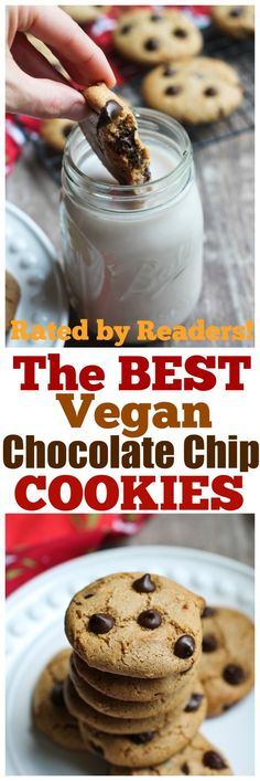 The most amazing Vegan Chocolate Chip Cookies that are classic in taste and texture, chewy and rich and also happen to be gluten-free and oil-free as well! You only need 8 ingredients to make these. These wow everybody who has them and also shock them that there is no all-purpose flour or butter or white sugar! via @thevegan8