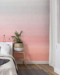 Ombre Peach, Gray and Pink Removable Wallpaper, Self Adhesive Wallpaper, Smooth Wallpaper, Home or Office Decoration Pink Removable Wallpaper, Old Wallpaper, Wallpaper Size, Self Adhesive Wallpaper, Pink Wallpaper In Bedroom, Office Wallpaper, Peach Walls, Pink Walls, Ombre Painted Walls
