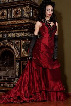 Silk Taffeta Gothic Victorian Bustle Gown Vampire by AliceCorsets