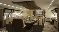 Restaurant: The central portion of the plane hosts a dining room which is attached to a kitchen, allowing the owner to make use of the services of a private chef