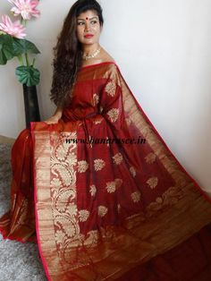 Banarasee/Banarasee Pure Handloom Faux Dupion Silk Saree With Floral Border-Deep Red