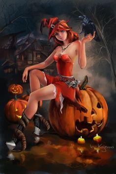 Halloween witch by Kajenna.deviantart.com on @DeviantArt