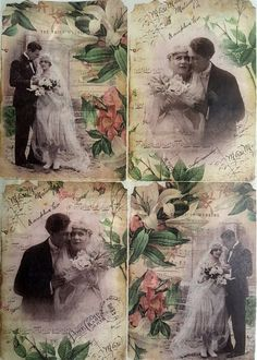 Rice Paper for Decoupage Scrapbooking Sheet Craft Vintage Old Weeding Photos