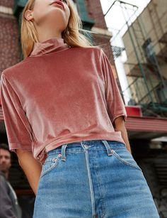 top dusty pink velvet mock neck top velvet dusty pink mock neck top pink velvet top pink top shirt