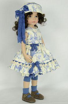 Toile dress modeled by Dianna Effner Little Darling Dolls, seamstress melanie_hazel819 (ebay name)