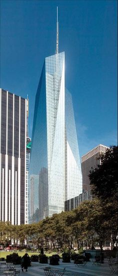NYC. Bank of America Tower - One of the new skycrapers in NY- from Bryant Square.