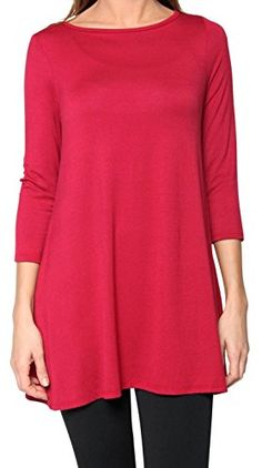 8bb62ae07c8f34 Free to Live Women s Flowy Elbow Sleeve Jersey Tunic Blouse Top Made in USA  (Medium