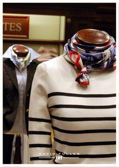Stripes and scarf Prep Style, Style Me, Classic Style, Classic Girl, Use E Abuse, Nautical Fashion, Preppy Fashion, Women's Fashion, Classic Outfits