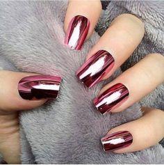 Awesome Pink Metallic Nail Art