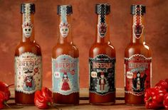 INFERNO chilli Inferno Mic's Chilli Packaging, design & illustration for Mic's Chilli's Inferno range of hot sauces. By Steve Simpson Stationery Design, Branding Design, Salsa Picante, Cool Packaging, Packaging Ideas, Label Design, Package Design, Graphic Design, Packaging Design Inspiration