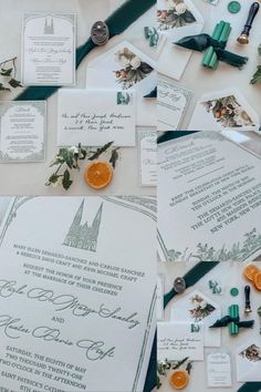 """""""Once in awhile, right in the middle of an ordinary life, love gives you a fairy tale..."""" 💚 A classic New York wedding with a classic letterpress suite to match. Our couple wanted nods to their @centralparknyc setting, their @stpatrickscathedral ceremony, and @tavernonthegreen reception. 🌿 We love the combination of greenery with the pop of color from the oranges. The texture of the letterpress, calligraphy, and wax seals - creating a truly dreamy suite. 🍊 Custom Stationery, Stationery Design, Custom Invitations, Rebecca Davis, Michaels Craft, Ordinary Lives, New York Wedding, Wax Seals, Letterpress"""
