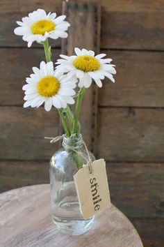 Love this simple arrangement - add a little purple with daisies & hang pic of girls throughout their school years on bottle - will use the Starbucks bottles that look like milk bottles. If my sister-in-law's daisies are in bloom we can have some!