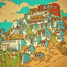 Highly Detailed Colouring Book for Adults Features Famous World Cities: Shey, Ladakh, Tibet.