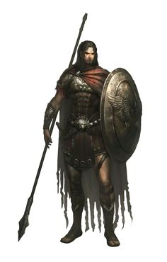 Male Human Spear Shield Fighter - Pathfinder PFRPG DND D&D d20 fantasy