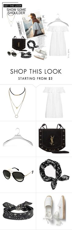 """""""Off-the-Shoulder- White Dress"""" by borislava-zo3bi ❤ liked on Polyvore featuring Tory Burch, Mike + Ally, Yves Saint Laurent and CÉLINE"""