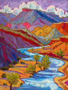 "Summer Skies Over Rushing River, von Michelle Chrisman Oil ~ 48 ""x Fauvism Art, Hippie Art, Landscape Art, Art Inspo, Watercolor Art, Cool Art, Illustration Art, Girl Illustrations, Art Drawings"