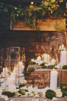 hurricane vases with candles to withstand the breeze