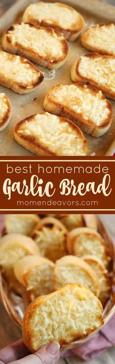 The BEST homemade garlic bread! Easy to make and SO good, this garlic bread is a family favorite!