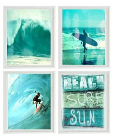 Surf Art Print Set - SALE 25% OFF - Aqua Surfer Beach Sign Beach House Wall Art Home Decor Waves Surfing Coastal Photographs 4 - 8x10 Prints (Frames Not Included) This photo was taken and digitally manipulated by me :) This photograph is professionally printed on archival paper with archival ink for a photograph that will last a lifetime. (Kodak Endura Professional paper in matte lustre) Please