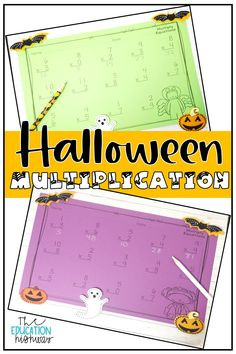 Halloween multiplication with single digit equations. Practice multiplication fact fluency. Includes quick facts, word problems, flip flaps, worksheets and more.
