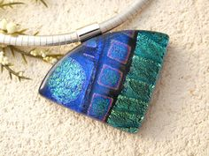Emerald Aqua Purple Necklace  Dichroic  Necklace  by ccvalenzo, $36.00