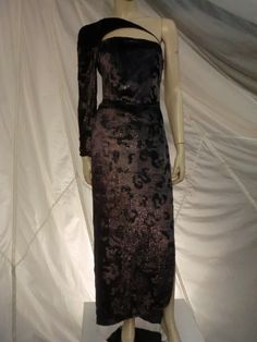 Geoffrey Beene Panne Velvet Asymmetrical Gown w/ Quilted Harness   From a collection of rare vintage evening dresses at https://www.1stdibs.com/fashion/clothing/evening-dresses/
