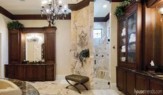 Marble dresses up a master bathroom
