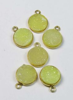 18K Gold Vermial Druzy Pendant 6 Pcs 925 Sterling by GEMSICON