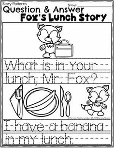 Kindergarten Writing Worksheets - Question and Answer Fox's Lunch Story pg 2 #planningplaytime #kindergartenworksheets #writingworksheets #kindergartenwriting