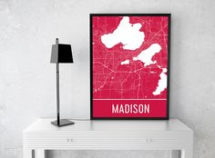 **MADE IN THE USA** You'll love this amazing Madison Art Print! This Madison city street map shows all of the winding streets of Madison . This will fit any decor, and also make great gifts. If you lo