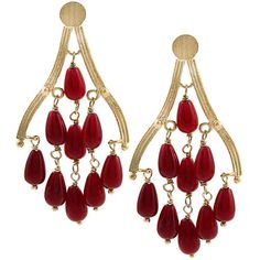 Rivka Friedman 18k Gold Overlay Quartzite Chandelier Earrings (£20) found on Polyvore
