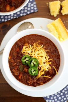 Beef and Red Wine Chili - This was a great basic chili recipe and pretty healthy, too. It doesn't have to simmer all day, which is nice, and is pretty easy to put together. Perfection with a slice of beer bread.