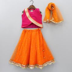 Pre Order: Pink Top And Orange Ghagra With Dupatta Kids Party Wear Dresses, Wedding Dresses For Kids, Kids Dress Wear, Baby Girl Party Dresses, Dresses Kids Girl, Kids Wear, Sew Dress, Girls, Fancy Dress Design