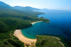 Finikounda beach is part of the town of Methoni in Greece.
