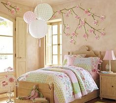 Cherry blossoms set the tone for this room