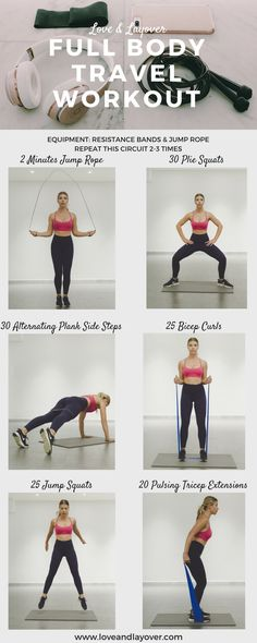Resistance Band Travel Workout Guide #fullbodyworkout #travelworkout #jumprope #toning #circuittraining #fitness