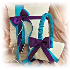 Purple plum and turquoise wedding ring bearer pillow and flower girl... (220 RON) ❤ liked on Polyvore featuring home, home decor, turquoise home accessories, turquoise home decor, purple home decor, purple home accessories and purple ring bearer pillow