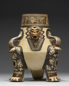 """virtual-artifacts: """"Shaman Effigy Vessel;This Pataky ceramic type portrays a seated shaman transformed into his/her jaguar spirit companion form. Guanacaste-Nicoya, earthenware, white slip overall,..."""