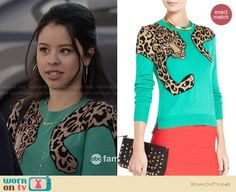 Mariana's green leopard graphic sweater on The Fosters.  Outfit Details: https://wornontv.net/27875/ #TheFosters