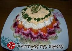 Σαλάτα Χριστουγεννιάτικη σαν τούρτα Greek Recipes, Light Recipes, My Recipes, Cooking Recipes, Favorite Recipes, Food Table Decorations, Food Decoration, Christmas Party Food, Xmas Food