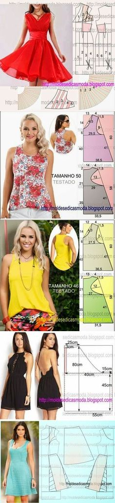 VESTIDO FÁCIL DE FAZER - 6 | Moldes Moda por Medida | Bloglovin' Dress Sewing Patterns, Sewing Patterns Free, Sewing Tutorials, Clothing Patterns, Sewing Projects, Sewing Blouses, Diy Clothing, Apparel Design, Dressmaking