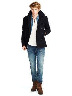 Shop Clothing for Men, Women, Children & Babies Men's Equestrian, Denim Coat, Denim And Supply, Pea Coat, Bedding Collections, Baby Kids, Mens Fashion, Wool, Moda Masculina