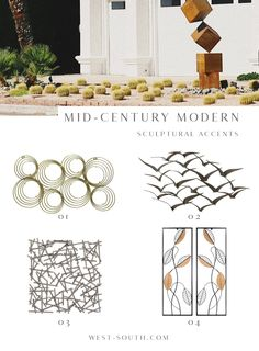 Know Your Home: Mid-Century Modern Style | West | South Mid Century Modern Colors, Mid Century Decor, Mid Century House, Golden Sword, Mid Century Modern Landscaping, Modern Paint Colors, Mid Century Exterior, Modern Lake House, Modern Style Homes